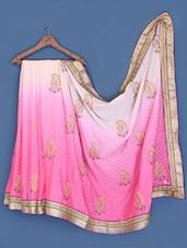 White And Pink Shaded Saree - Suchi Fashion
