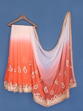 White And Orange Chiffon Saree - Suchi Fashion