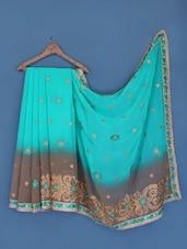 Turquoise And Grey Chiffon Saree - Suchi Fashion