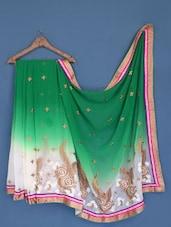 Green And White Georgette Saree - Suchi Fashion
