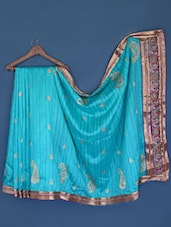Turquoise Paisley Patterned Cotton Silk Saree - Suchi Fashion