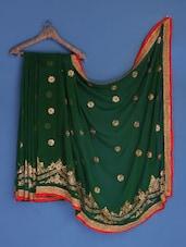 Bottle Green Floral Embroidered Georgette Saree - Suchi Fashion