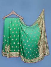 Shaded Green Zari Embroidered Chiffon Saree - Suchi Fashion