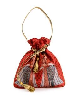 Mughal Pop Art Print Raw Silk Potli Bag - Jorie Bazaar