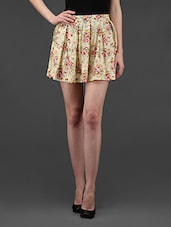 Floral Box Pleated Cotton Blend Skirt - STREET 9