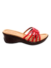 Strappy Red Faux Leather Wedge Slippers - Marc Loire