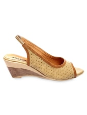 Beige Faux Leather Wedge Sling-Back Sandals - Marc Loire