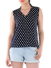 navy blue, white top -  online shopping for Tops