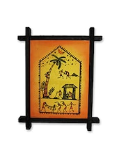 Home Stopper Red Warli Folk Paintings (10 X 10 Inch) - By