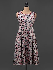 Black Floral Printed Sleeveless A-line Dress - Magnetic Designs