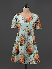 Floral Printed Box Pleated Dress - Magnetic Designs