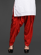 Red Cotton Pleated Patiala Salwar - Magnetic Designs