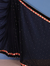 Black Embroidered Georgette Saree - DLINES