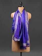 Tasseled Royal Blue And Purple Stole - Rang Banarasi
