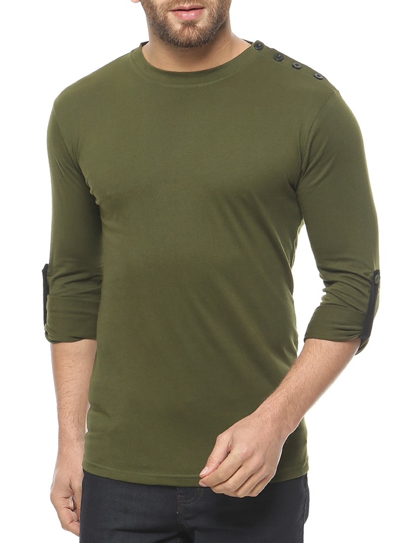 Buy Olive Green Cotton T-shirt by Gritstones - Online shopping for T-shirts  in India  025cf742579