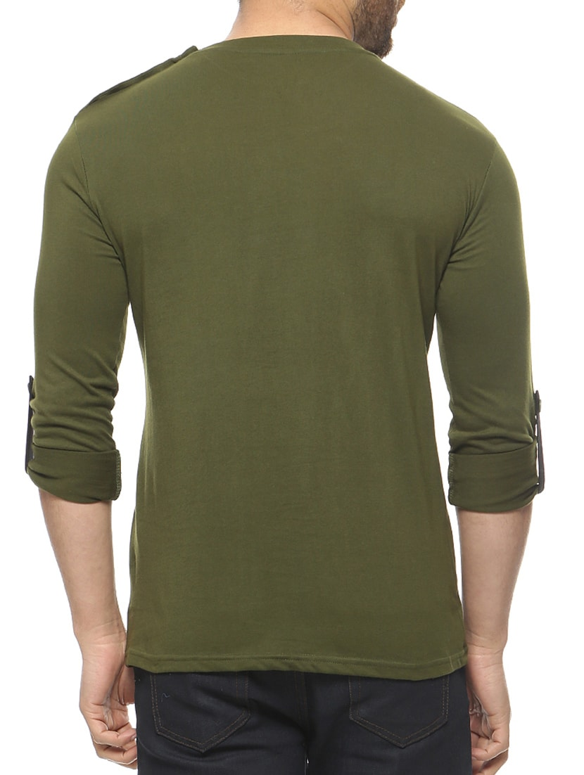 305b2592c Buy Olive Green Cotton T-shirt for Men from Gritstones for ₹350 at 46% off  | 2019 Limeroad.com