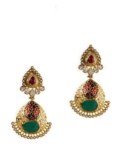 Gold And Blue Kundan Earrings - Jorie Bazaar