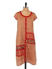 Round Neck Short Sleeve Printed Pannel Kurta - Saffron Threads