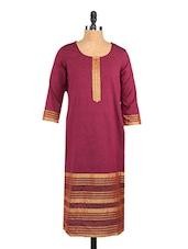 Three-quarter Sleeve Round Neck Cotton Kurta - Saffron Threads