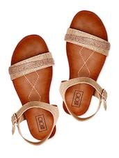 Snake Skin Textured Embellished Strap Sandals - INTOTO