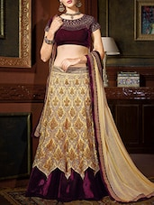beige georgette embroidered panelled lehenga -  online shopping for lehengas