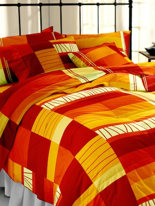 Multicolored Printed Cotton  Double Bedsheet Set -  online shopping for bed sheet sets