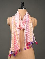 Printed Multi Colored  Cotton Stole - Jaipur Vogue