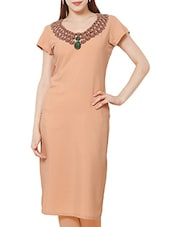 ZIYAA Peach Color Round Neck Faux Crepe Kurta - By