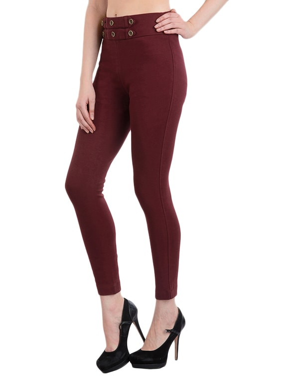1d7fc00e3756b Buy Burgundy Cotton Jeggings for Women from Rider Republic for ₹986 at 42%  off | 2019 Limeroad.com