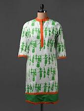 Tribal Print Quarter Sleeves Cotton Kurta - SHREE