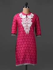 Quarter Sleeves Embroidered Cotton Kurta - SHREE