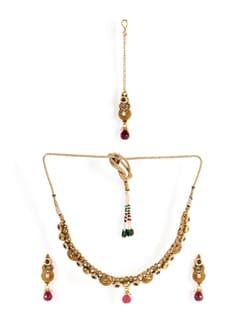 Golden Necklace Set With Tika - Jorie Bazaar 10466