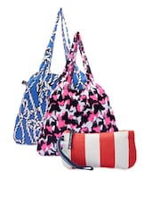 Printed Canvas Tote Bag & Wrislet Combo Of 3 - Be... For Bag