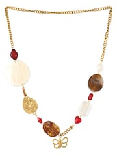 Gold Glass & Metal Alloy Necklace - Blend Fashion Accessories