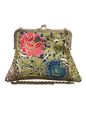 Floral Printed Brocade Sling Bag - The House Of Tara