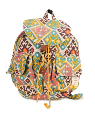 ikat printed cotton canvas backpack -  online shopping for backpacks