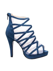 White And Blue Faux Leather High Heels - Klaur Melbourne