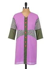 V Neck Quarter Sleeves Georgette Kurta - Fashion205