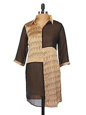 Beige And Black Printed Shirt Collar Kurta - Fashion205