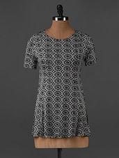 Round Neck Monochrome Printed Tunic - Forever Fashion