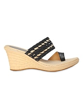 Black Woven Pattern Heel Sandals - Niremo