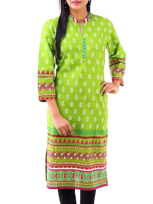green cotton kurti -  online shopping for kurtis