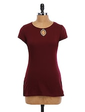 Round Neck Short Sleeve Cotton Kurti - WAS
