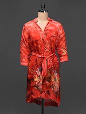 Red Georgette Printed Shirt Dress - Raaziba