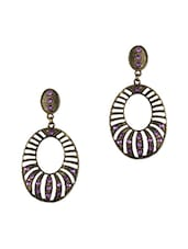 Antique Gold  Oval Earrings With Purple Stones - THE BLING STUDIO
