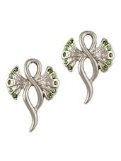 Silver Green Stones Stud Earrings - THE BLING STUDIO