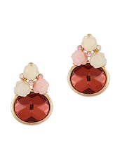 Cute Roses With Oval Stone Stud Earrings - THE BLING STUDIO