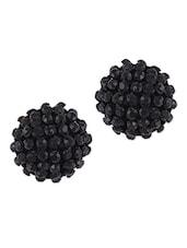 Black Stone Cluster Round Stud Earrings - THE BLING STUDIO