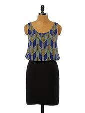 Black And Blue Printed Cotton Dress - VINEGAR