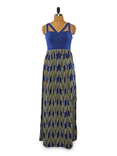 Printed Blue Polyester Maxi Dress - VINEGAR